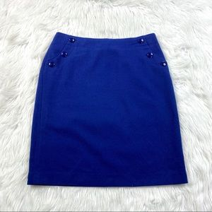 J. Crew New Adrian Royal Blue Wool Pencil Skirt